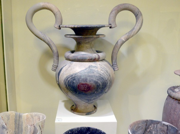 Archaeological Museum in Herakleion. Ritual amphora of veined marble from Zakros. New palace period ( 1500-1450 B.C. )